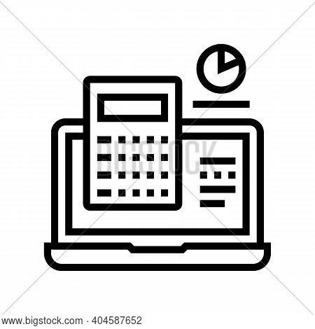 Computer Calculator Line Icon Vector. Computer Calculator Sign. Isolated Contour Symbol Black Illust