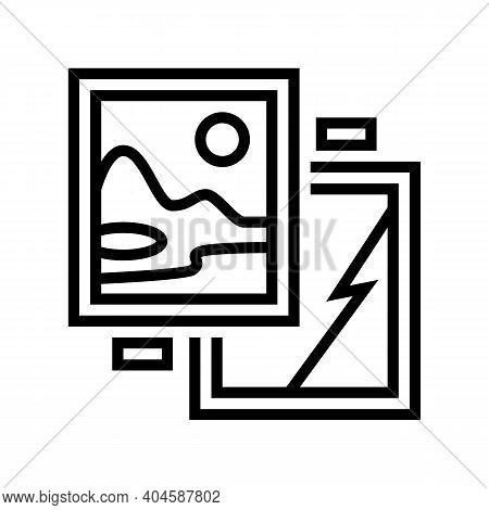 Paintings Museum Exhibit Line Icon Vector. Paintings Museum Exhibit Sign. Isolated Contour Symbol Bl