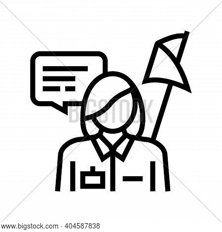 Guid Museum Worker Line Icon Vector. Guid Museum Worker Sign. Isolated Contour Symbol Black Illustra