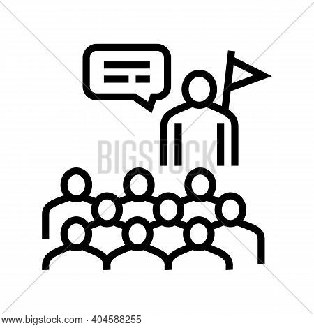 Guid And Visitor Group Line Icon Vector. Guid And Visitor Group Sign. Isolated Contour Symbol Black