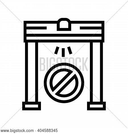 Metal Detector Frame Line Icon Vector. Metal Detector Frame Sign. Isolated Contour Symbol Black Illu