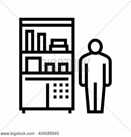 Drugstore Worker Showcase With Pills Line Icon Vector. Drugstore Worker Showcase With Pills Sign. Is