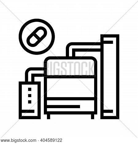 Medicine Manufacturing Machine Line Icon Vector. Medicine Manufacturing Machine Sign. Isolated Conto
