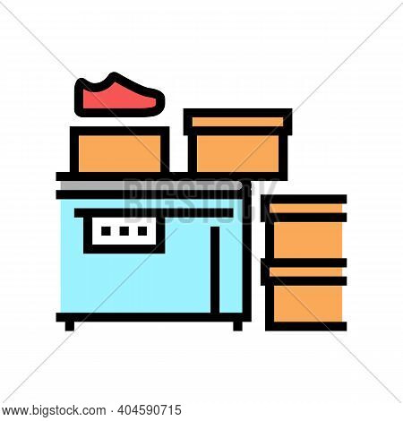 Shoes Packaging Conveyor Color Icon Vector. Shoes Packaging Conveyor Sign. Isolated Symbol Illustrat