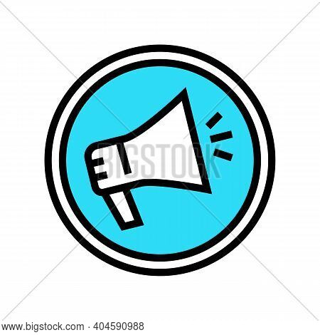 Advertising Loudspeaker Sign Color Icon Vector. Advertising Loudspeaker Sign Sign. Isolated Symbol I
