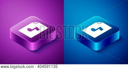 Isometric Music Book With Note Icon Isolated On Blue And Purple Background. Music Sheet With Note St
