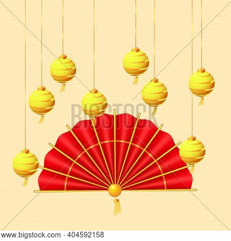 Oriental Holiday Lunar New Year. Hanging Golden Paper Lanterns And Traditional Red Hand Fan. Orienta