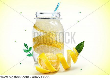 Fruit And Vegetable Juice With Fruits On A White Background. Variety Of Fruit And Freshly Made Juice