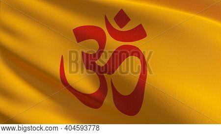 Flag Of Hinduism. 3D Rendering Illustration Of Waving Sign Symbol. Hindu Religion.