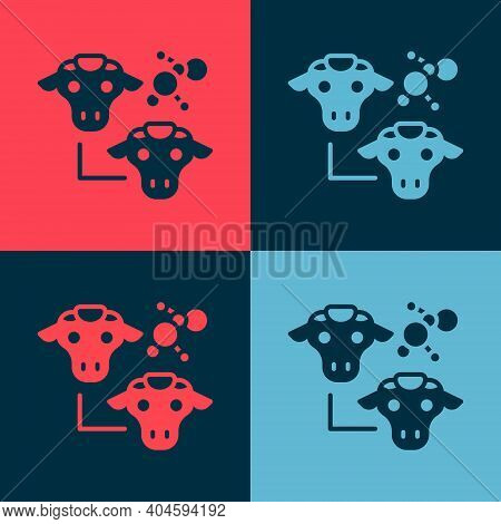 Pop Art Cloning Icon Isolated On Color Background. Genetic Engineering Concept. Vector