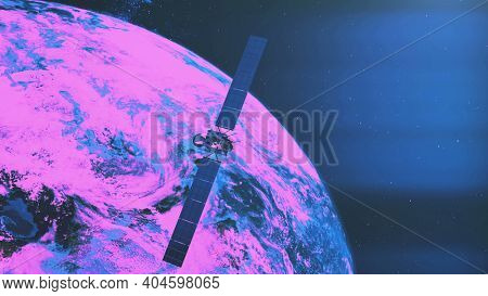 Space satellite Rosetta with solar panels over purple and pink coloured Earth planet. Spacecraft orbital explore mission. Multinational station at spatial zero gravity in 3d animation