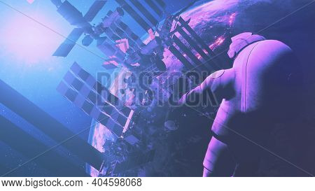 Closeup spaceman of international space station and planet Earth of solar system. Equipped cosmonaut in spacesuit. Outer cosmos spacecraft. 3d animation in soft sun light with purple, pink toning