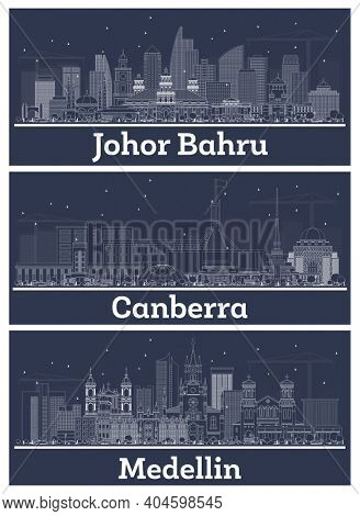 Outline Canberra Australia, Medellin Colombia and Johor Bahru Malaysia City Skyline Set with White Buildings.