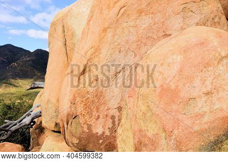 Large Rocks And Boulders On A Mountain Ridge Taken At Arid Badlands In The Rural Southern California