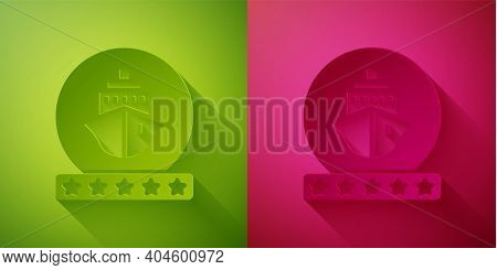 Paper Cut Cruise Ship Icon Isolated On Green And Pink Background. Travel Tourism Nautical Transport.
