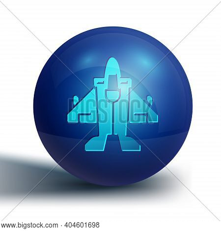 Blue Jet Fighter Icon Isolated On White Background. Military Aircraft. Blue Circle Button. Vector