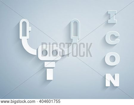 Paper Cut Aircraft Steering Helm Icon Isolated On Grey Background. Aircraft Control Wheel. Paper Art