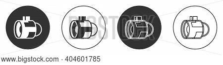 Black Jet Engine Turbine Icon Isolated On White Background. Plane Turbine. Airplane Equipment. Jet P