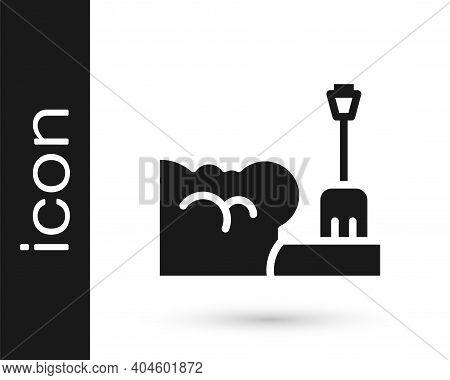 Black Shovel In Snowdrift Icon Isolated On White Background. Vector