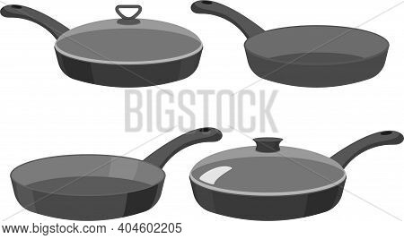 Pans. Kitchen Pan Objects, Cartoon Kitchenware Tools Collection For Cooking, Vector Illustration Of