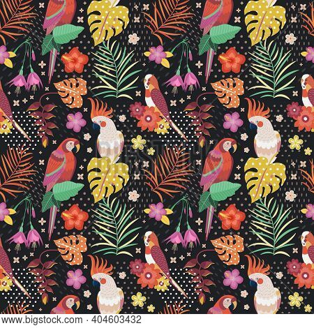 Vintage Hawaiian Parrots Pattern Or Aloha Print