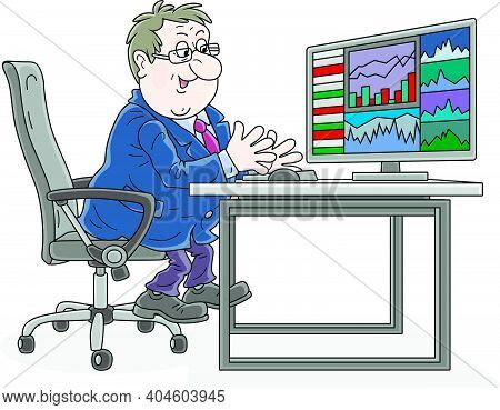 Trader Watching A Computer Monitor With Graphs And Rates At His Workplace At A Stock Or Currency Exc