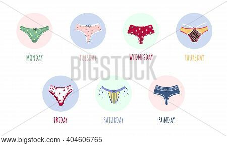 Modern Female Panties Collection For Week. Cute Colorful Weekly Knickers With Bows And Lace. Trendy