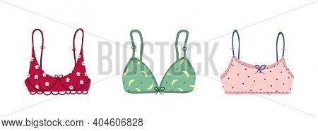 Modern Female Bra Collection. Cute Colorful Brassieres With Bows And Lace. Trendy Hand Drawn Underga