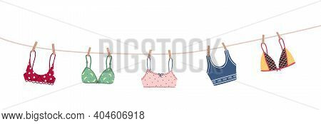 Modern Female Bra Dried On A Rope. Cute Colorful Brassieres After Washing. Trendy Undergarments. Vin
