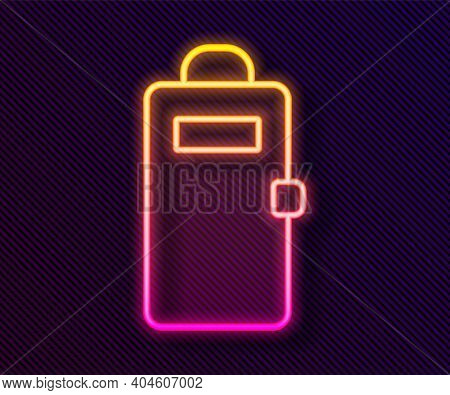Glowing Neon Line Police Assault Shield Icon Isolated On Black Background. Vector