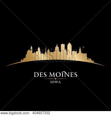 Des Moines Iowa City Skyline Silhouette. Vector Illustration