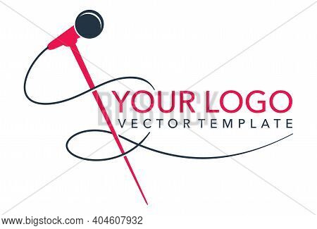 Microphone And Cable Silhouette Logo Template For Leading, Singer, Event, Karaoke Party