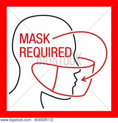 Mask Required, No Entry Without Mask Sticker - Thin Line Decorated Person Character In Virus Protect