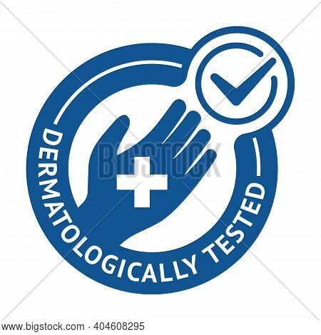 Dermatologically Tested Flat Emblem - Human Hand With Medical Cross - Quality Testing Proven Icon Fo