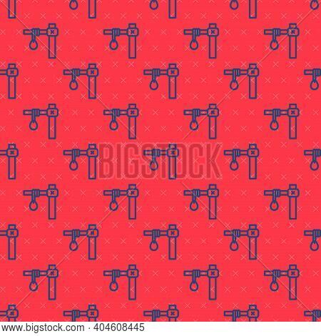 Blue Line Gallows Rope Loop Hanging Icon Isolated Seamless Pattern On Red Background. Rope Tied Into
