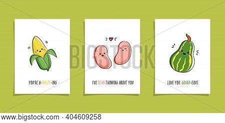 Set Of Cards With Veggies And Funny Phrases. Puns With Cute Corn, Bean And Gourd. Kawaii Drawing Of