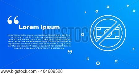 White Line No Money Icon Isolated On Blue Background. Prohibition Of Money. Vector