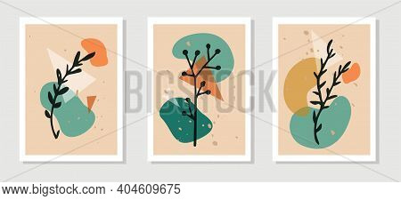 Botanical Wall Art Vector Set. Plant Elements Line Art Drawing With Abstract Shape Spots. Abstract P