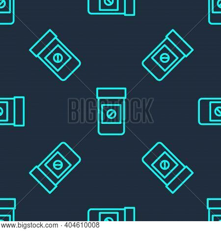 Green Line Sports Doping, Anabolic Drugs Icon Isolated Seamless Pattern On Blue Background. Anabolic