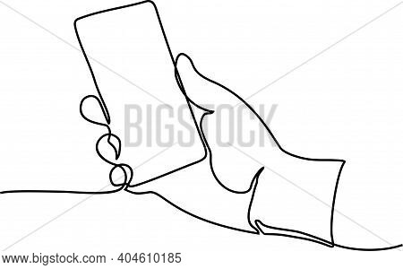 Continuous Line Drawing Of Hand Using Modern Mobile Phone. Continuous One Line Drawing Of Hand Holdi