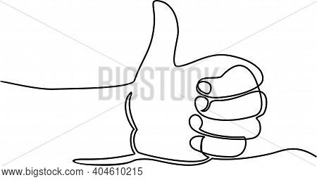 Continuous Line Hand Thumbs Up Vector. The Hand With The Raised Finger Is Drawn By One Line On A Whi