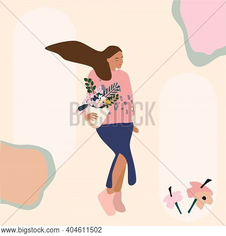 A Girl In A Skirt With A Slit Carries A Bouquet Of Flowers. Gift Concept, International Women's Day.