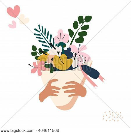 Hands Hold A Bouquet Of Flowers In Paper Packaging With A Ribbon. Branches Of Eucalyptus,hydrangea,l