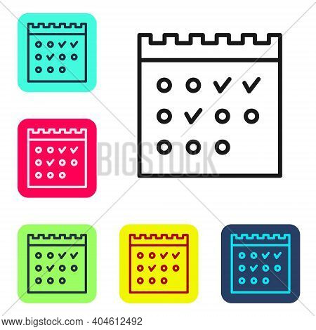 Black Line Hotel Booking Calendar Icon Isolated On White Background. Set Icons In Color Square Butto