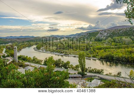 Pocitelj and Neretva river, Bosnia and Herzegovina - view from above poster