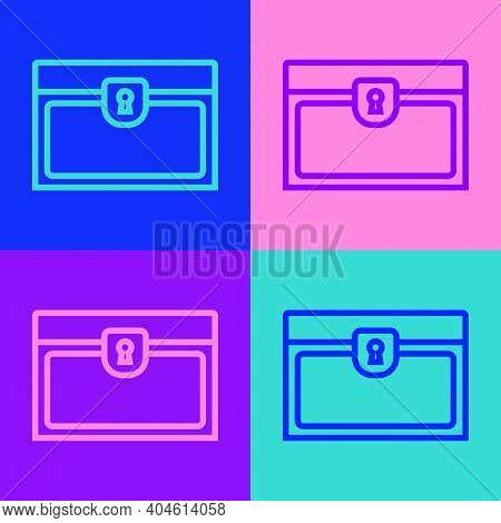 Pop Art Line Antique Treasure Chest Icon Isolated On Color Background. Vintage Wooden Chest With Gol