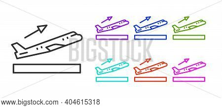 Black Line Plane Takeoff Icon Isolated On White Background. Airplane Transport Symbol. Set Icons Col