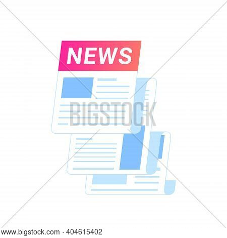 Breaking News Notification Of Latest Updates For World, Entertainment And Politics. Flat Vector Icon