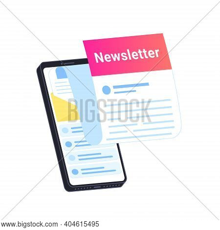 Newsletter Subcription Online In Mobile App. Flat Vector Illustration Of Big Smartphone With New Mon