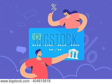 Family Banking And Blue Credit Card Interest Rate. Flat Vector Illustration Of Man And Woman Holding